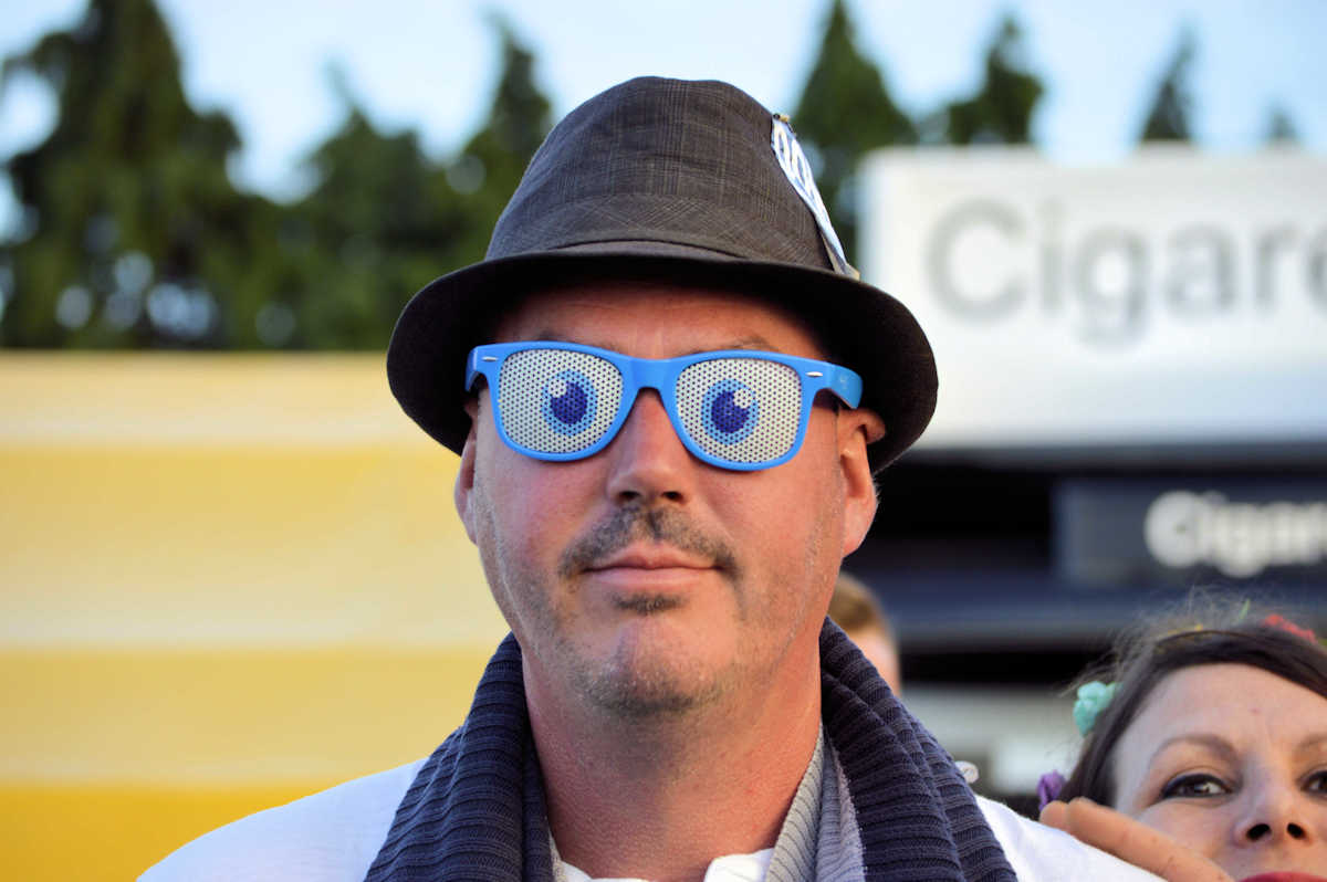 Man with Goofy Glasses at Isle of Wight Festival.