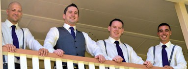 Groom Best Man & Ushers on Balcony
